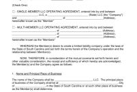 Free South Carolina Llc Operating Agreement Templates  Pdf  Word with regard to Sole Mandate Agreement Template