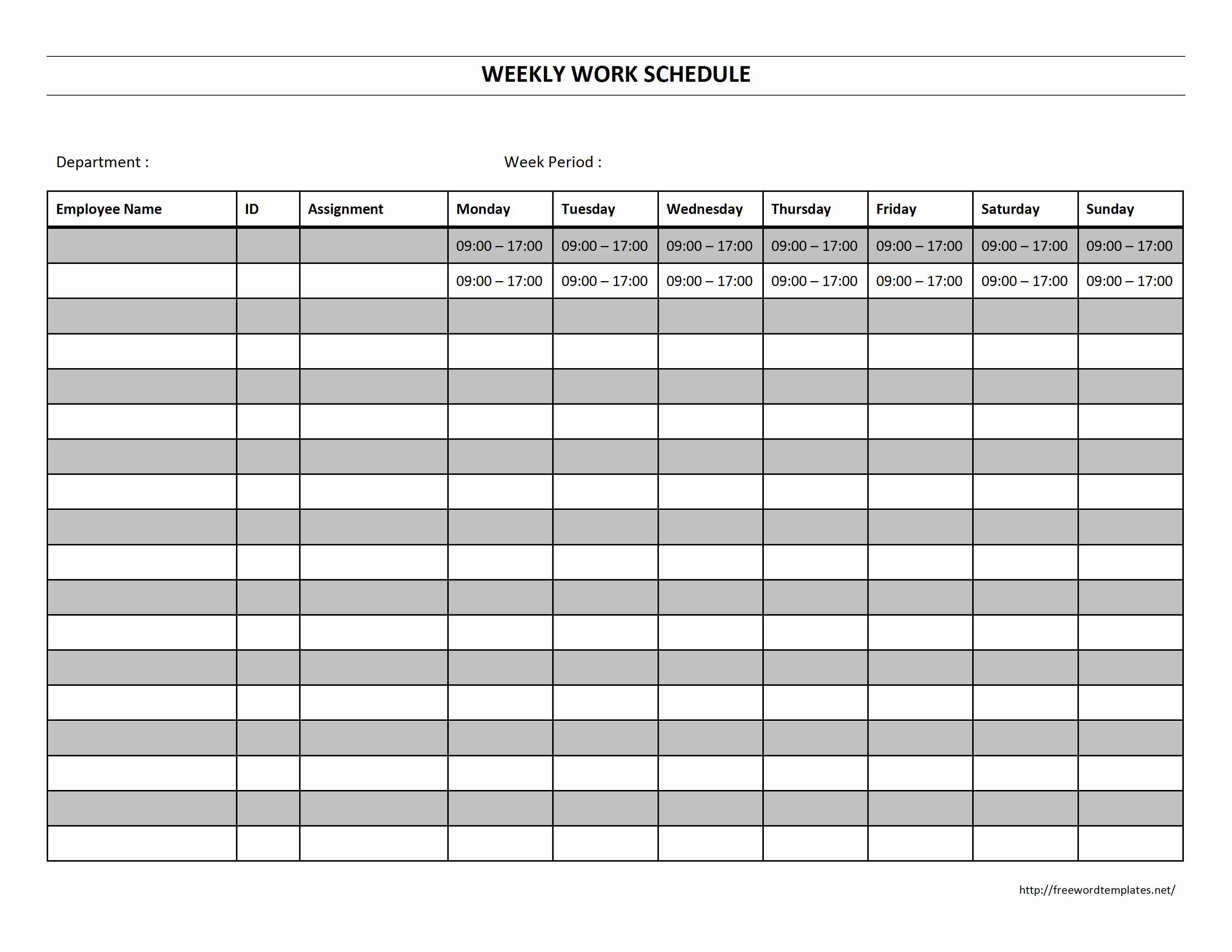 Free Staff Schedule Template Weekly  Smorad In Blank Monthly Work Schedule Template