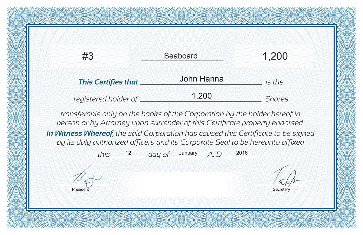 Free Stock Certificate Online Generator Intended For Ownership Certificate Template