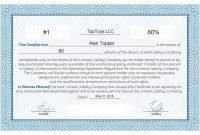 Free Stock Certificate Online Generator with Llc Membership Certificate Template Word