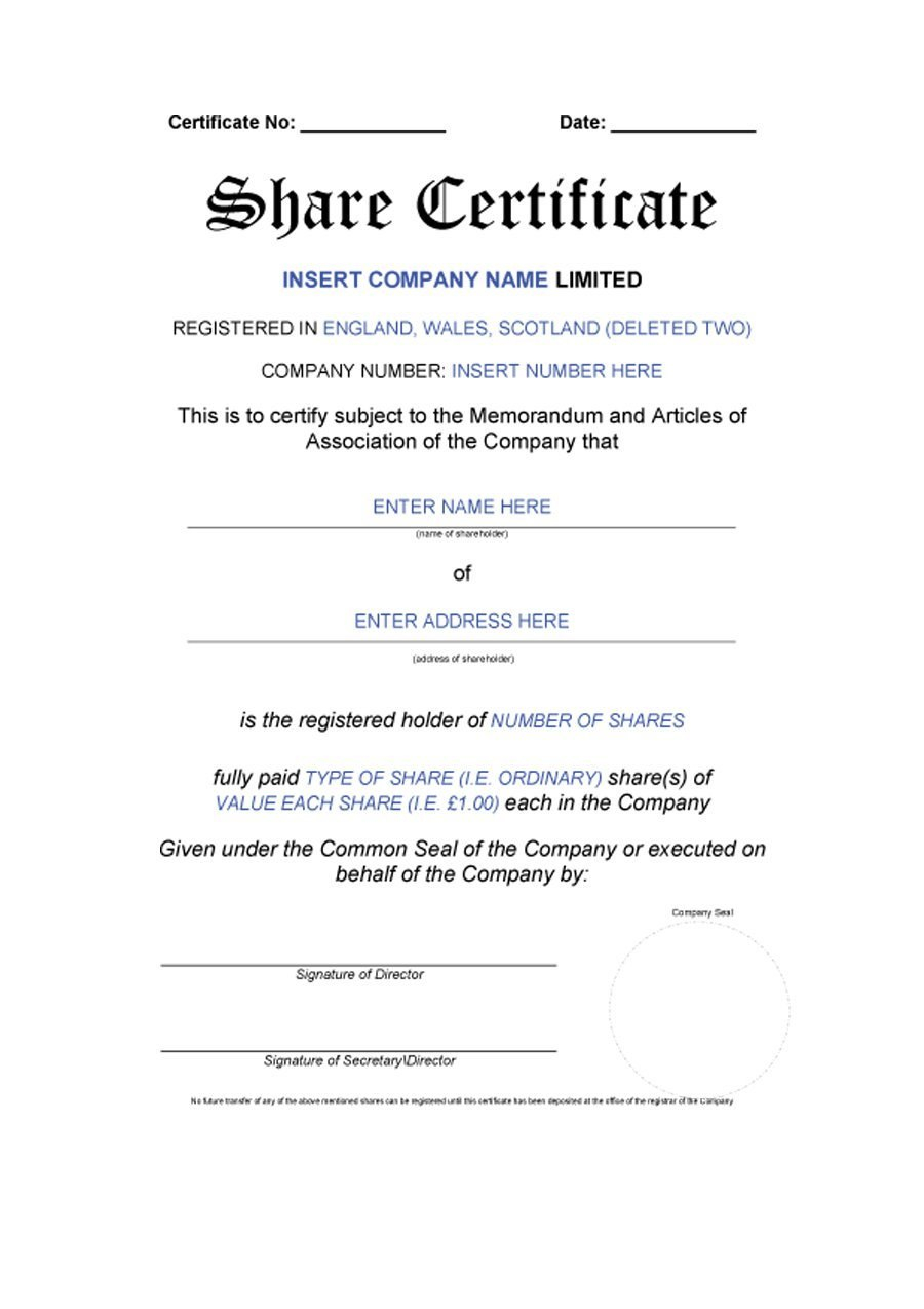 Free Stock Certificate Templates Word Pdf ᐅ Template Lab Inside Blank Share Certificate Template Free
