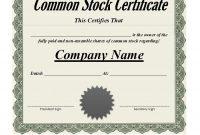 Free Stock Certificate Templates Word Pdf  Free Template pertaining to Share Certificate Template Australia