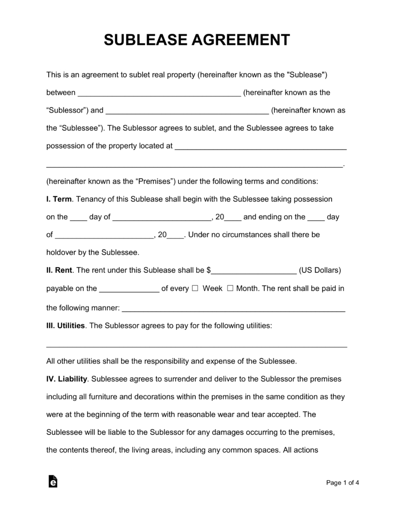 Free Sublease Agreement Template  Pdf  Word  Eforms – Free Intended For Sublease Commercial Agreement Template