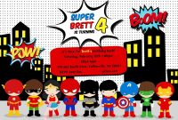 Free Superhero Birthday Party Invitation Templates …  Jase Turns inside Superhero Water Bottle Labels Template