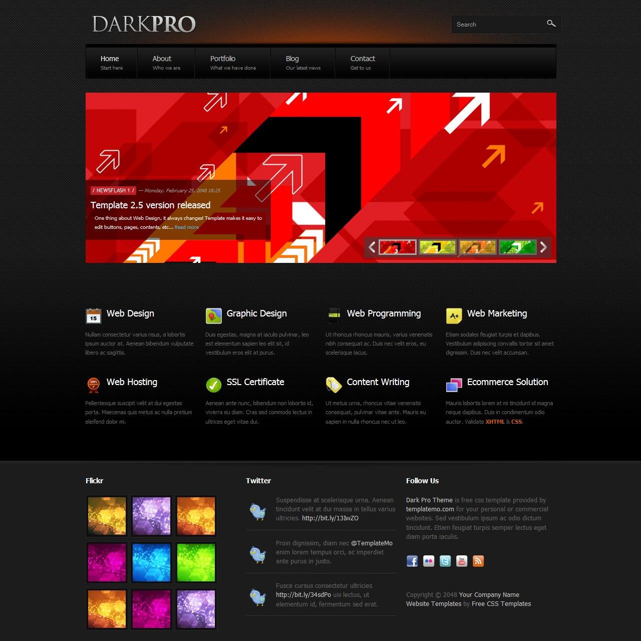Free Template  Dark Pro Regarding Free Css Website Templates With Drop Down Menu