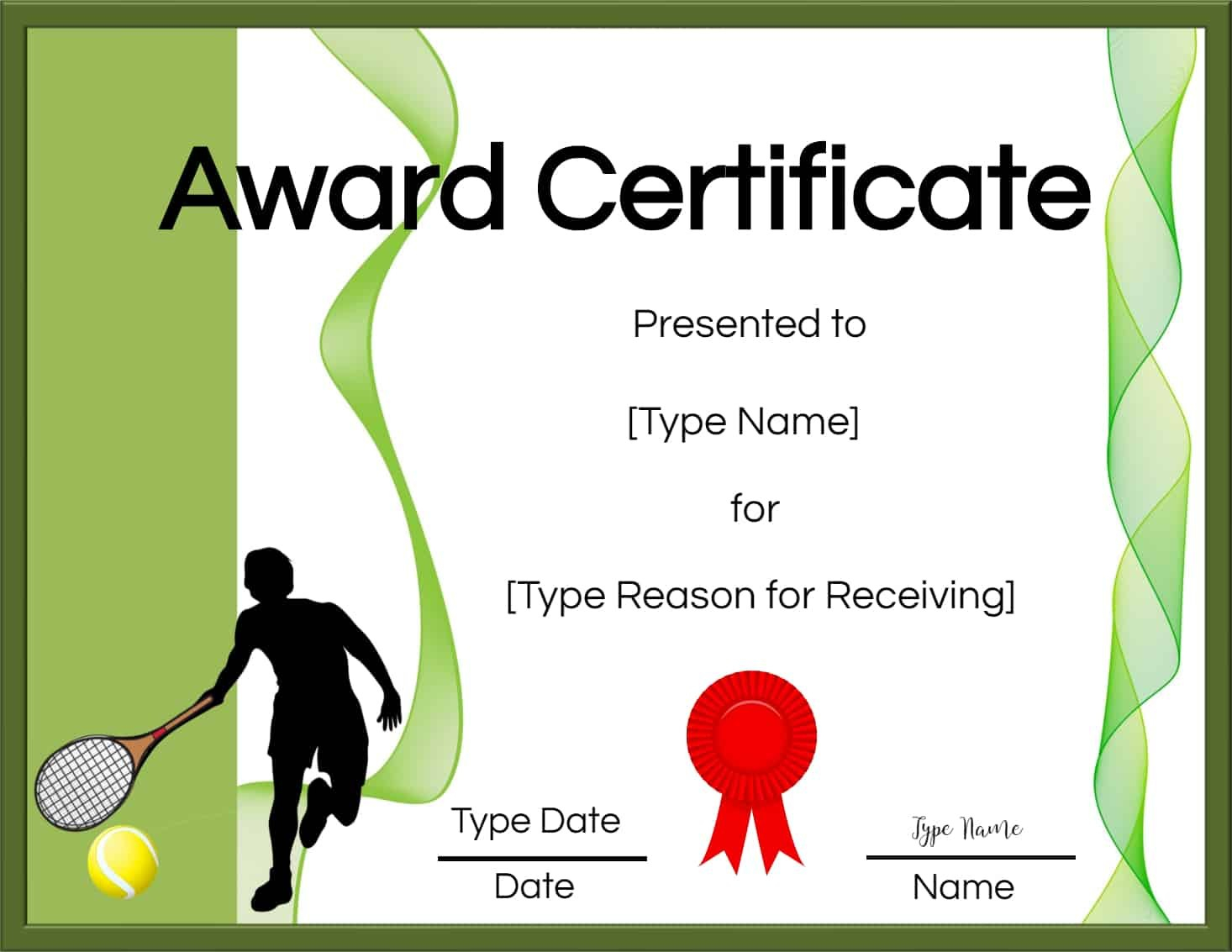 Free Tennis Certificate  Customize Online  Print Within Tennis Certificate Template Free