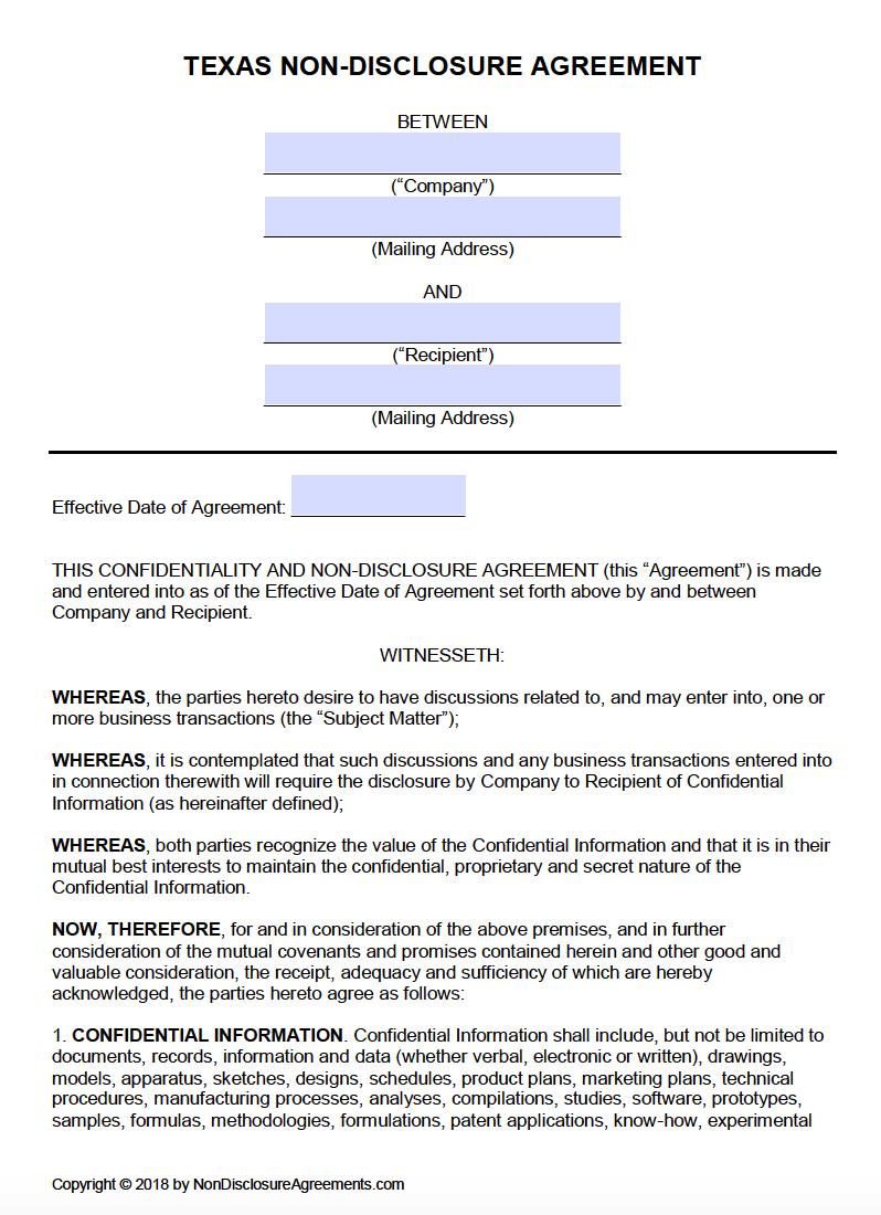 Free Texas Nondisclosure Agreement Nda Template  Pdf  Word In Mutual Non Disclosure Agreement Template