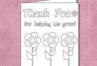 Free Thank You For Helping Me Grow  Coloring Card Printable in Thank You Card For Teacher Template