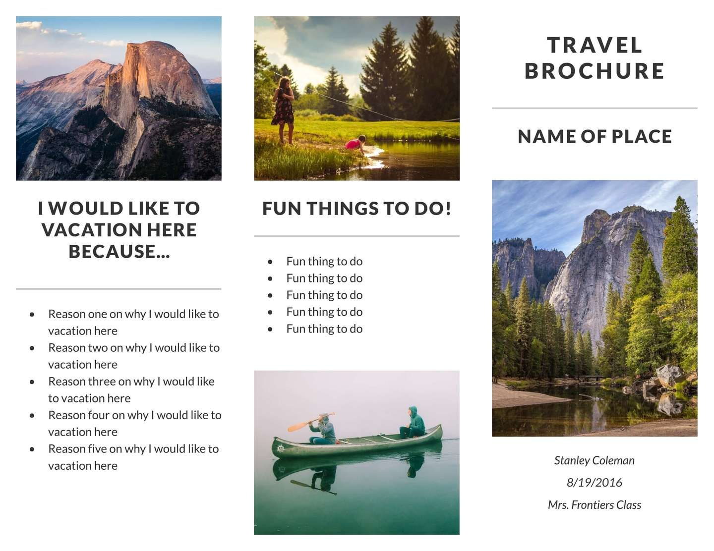 Free Travel Brochure Templates  Examples  Free Templates Regarding Travel And Tourism Brochure Templates Free