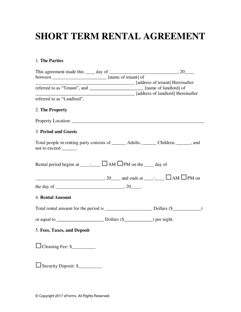 Free Vacation Short Term Rental Lease Agreement  Word  Pdf With Vacation Home Rental Agreement Template