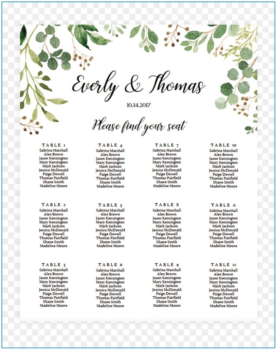 Free Wedding Seating Chart Template Microsoft Word  Template Inside Wedding Seating Chart Template Word
