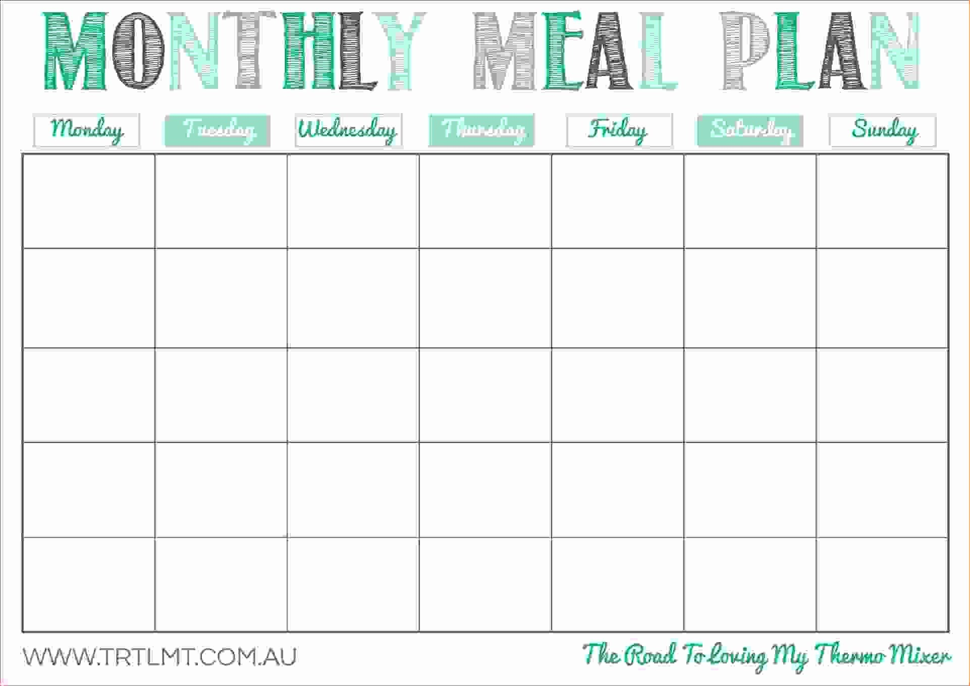 Free Weekly Meal Planner Template Best Of Monthly Fascinating Inside Blank Meal Plan Template