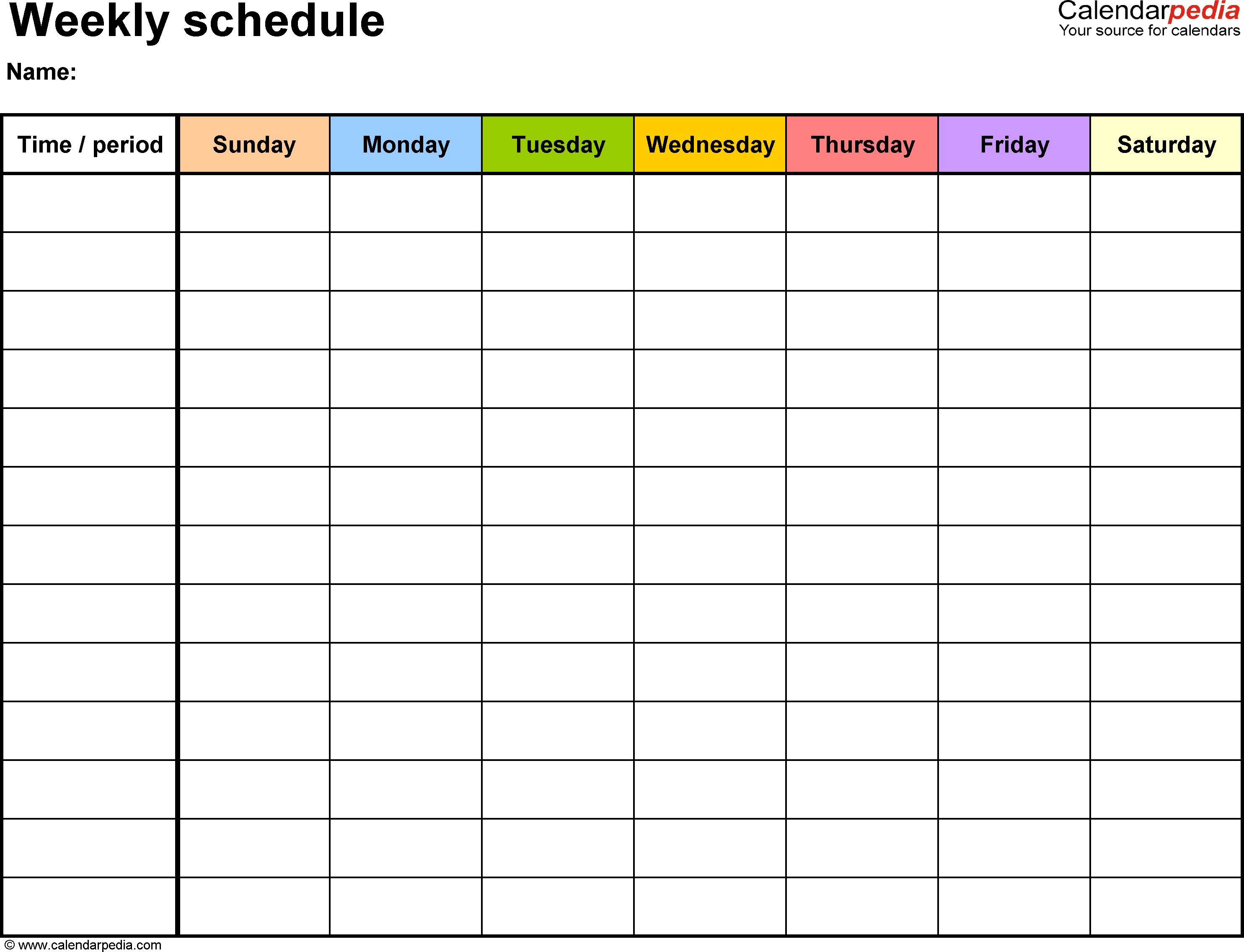 Free Weekly Schedule Templates For Word   Templates In Blank Trip Itinerary Template