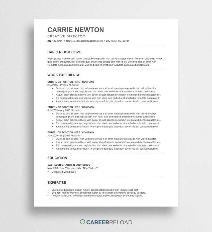 Free Word Resume Templates  Free Microsoft Word Cv Templates Inside How To Get A Resume Template On Word