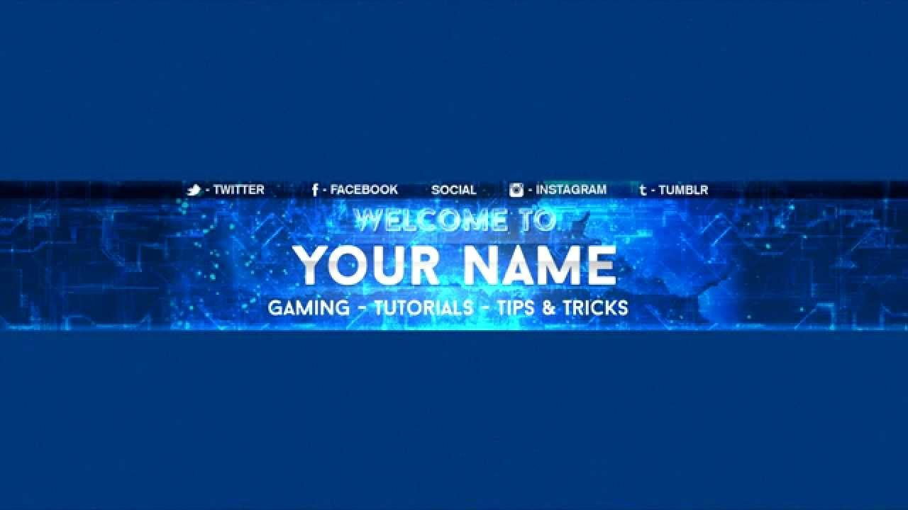 Free Youtube Banner Template  Electro Blue  Youtube Pertaining To Youtube Banners Template