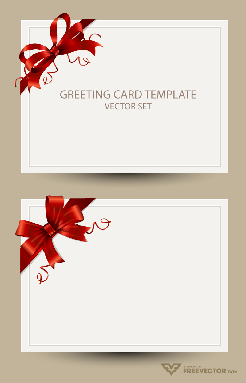 Freebie Greeting Card Templates With Red Bow – Ai Eps Psd  Png Regarding Greeting Card Layout Templates