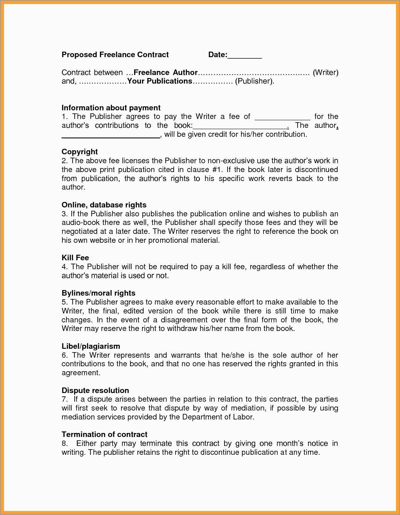 Freelance Agreement Template Free Unique   Freelance Contract Throughout Freelance Writer Agreement Template