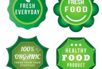 Fresh Food Product Vintage Labels Template Set Green Theme pertaining to Food Product Labels Template