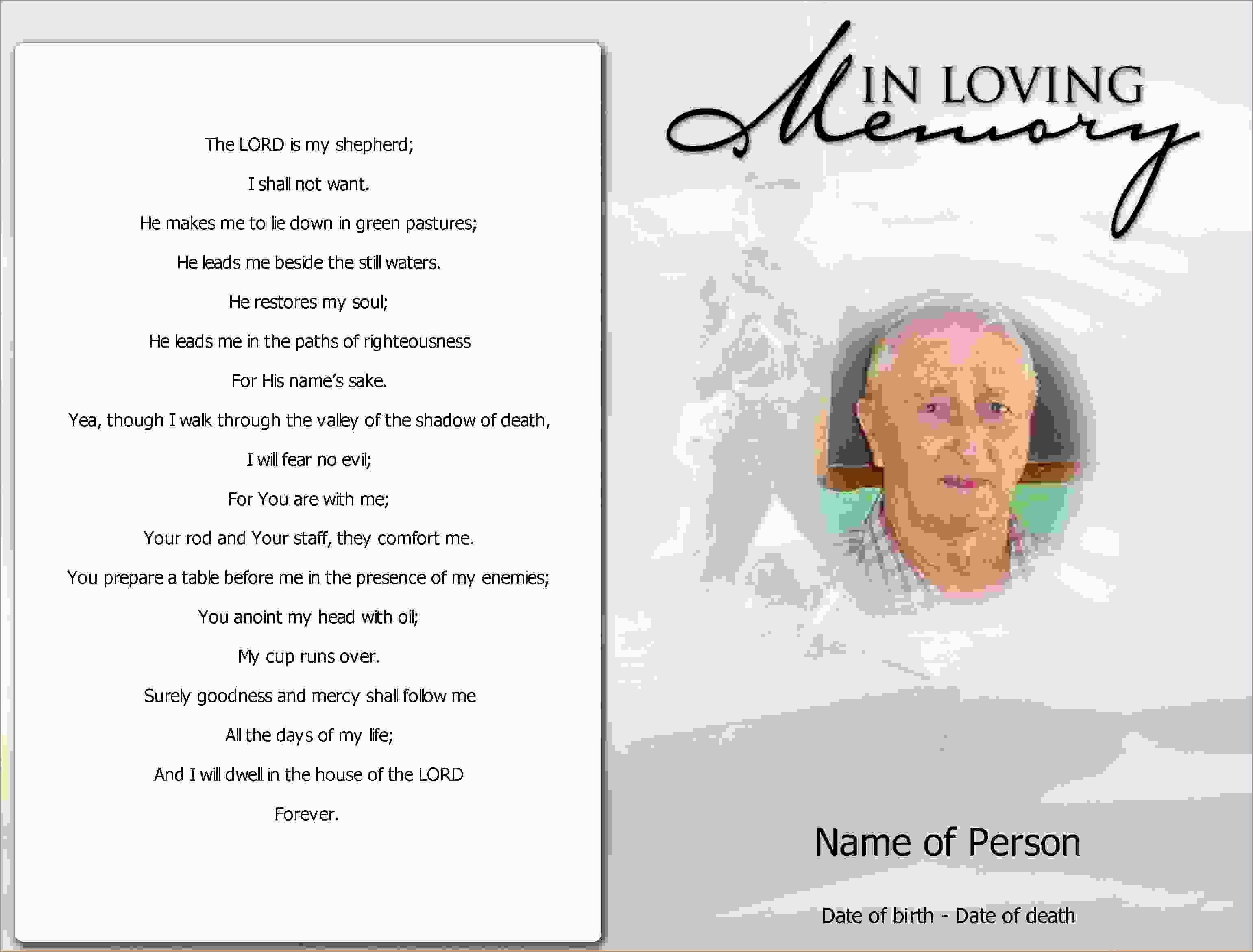 Fresh Memorial Cards For Funeral Template Free  Best Of Template Regarding Memorial Card Template Word
