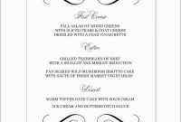 Fresh Wedding Menu Template Free Word  Best Of Template throughout Free Wedding Menu Template For Word