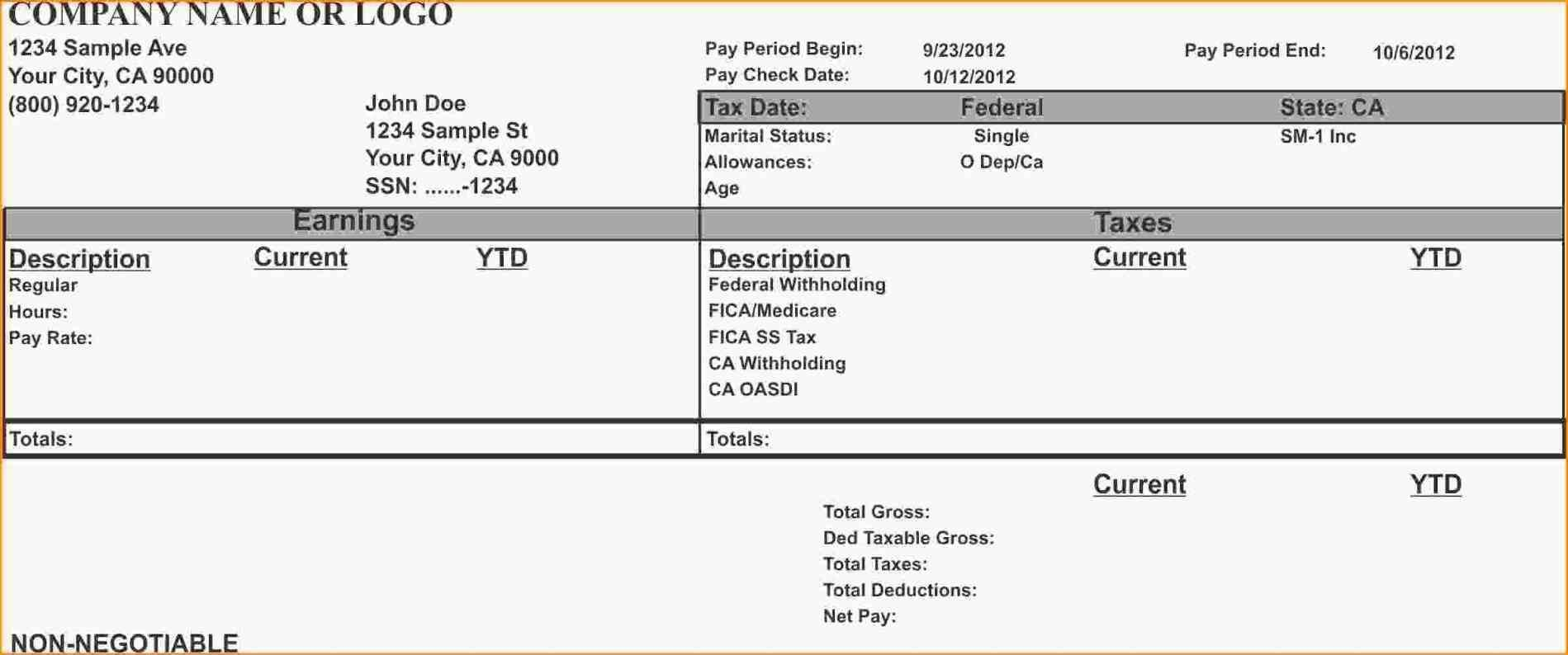 From Calculate Pay Stub Template Word Employee Payroll And Complete Regarding Blank Pay Stub Template Word