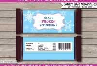 Frozen Hershey Candy Bar Wrappers  Personalized Candy Bars inside Candy Bar Label Template