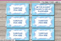 Frozen Party Food Labels  Place Cards  Winter Theme Birthday Party within Food Label Template For Party