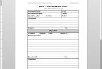 Fsms Nonconformance Report Template with Quality Non Conformance Report Template