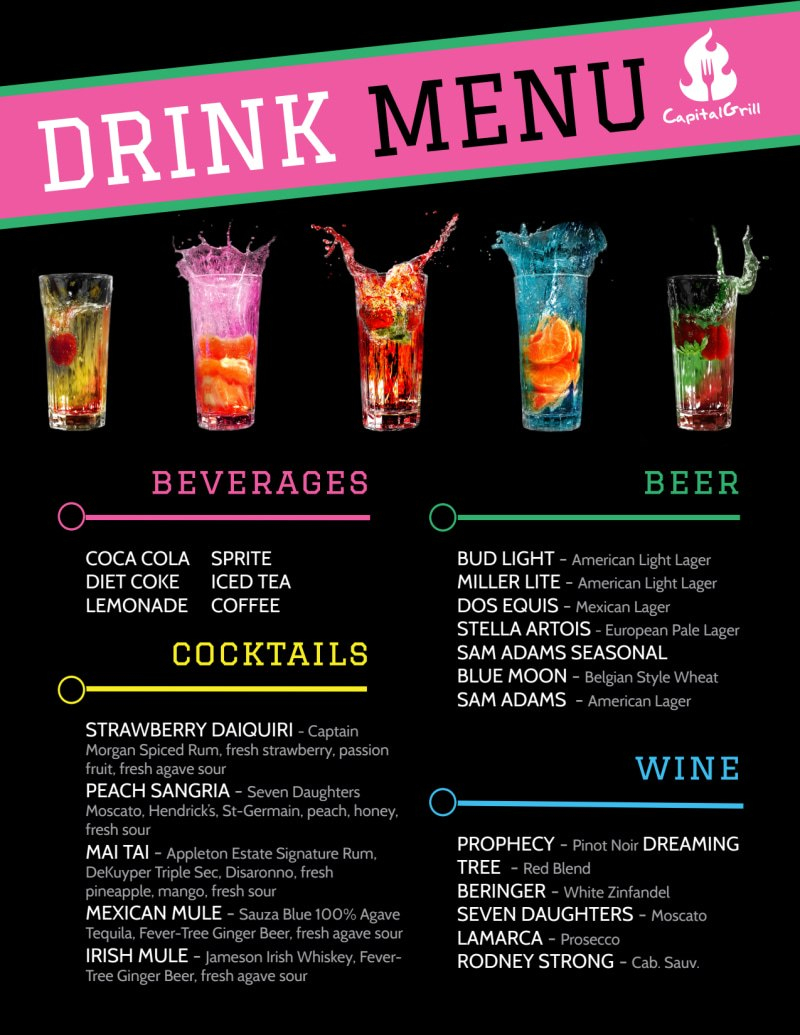 Fun Drink Menu Template  Mycreativeshop Intended For Fun Menu Templates
