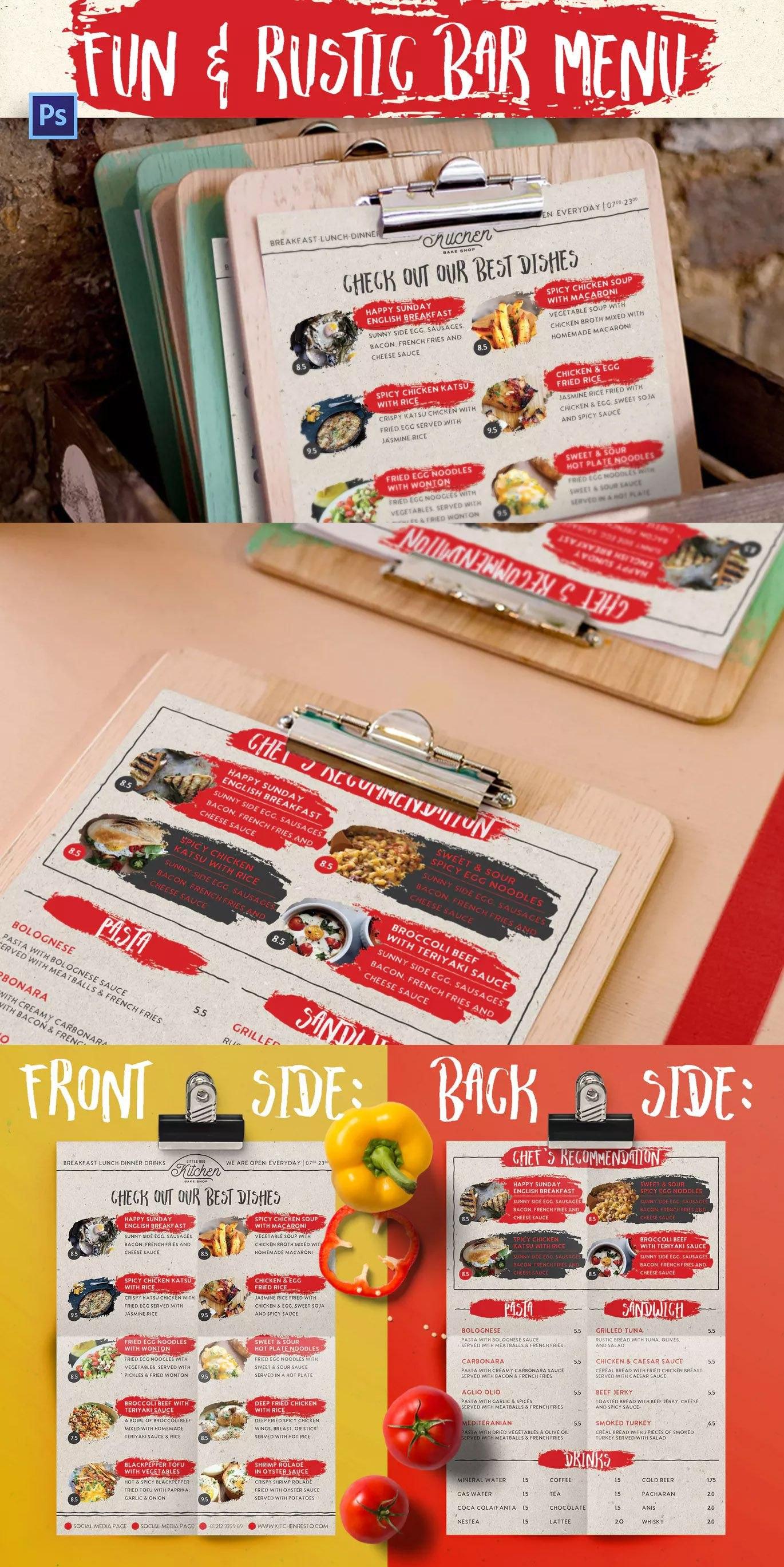 Fun  Rustic Bar Menu Template Psd Download  Food Menu Templates Regarding Fun Menu Templates