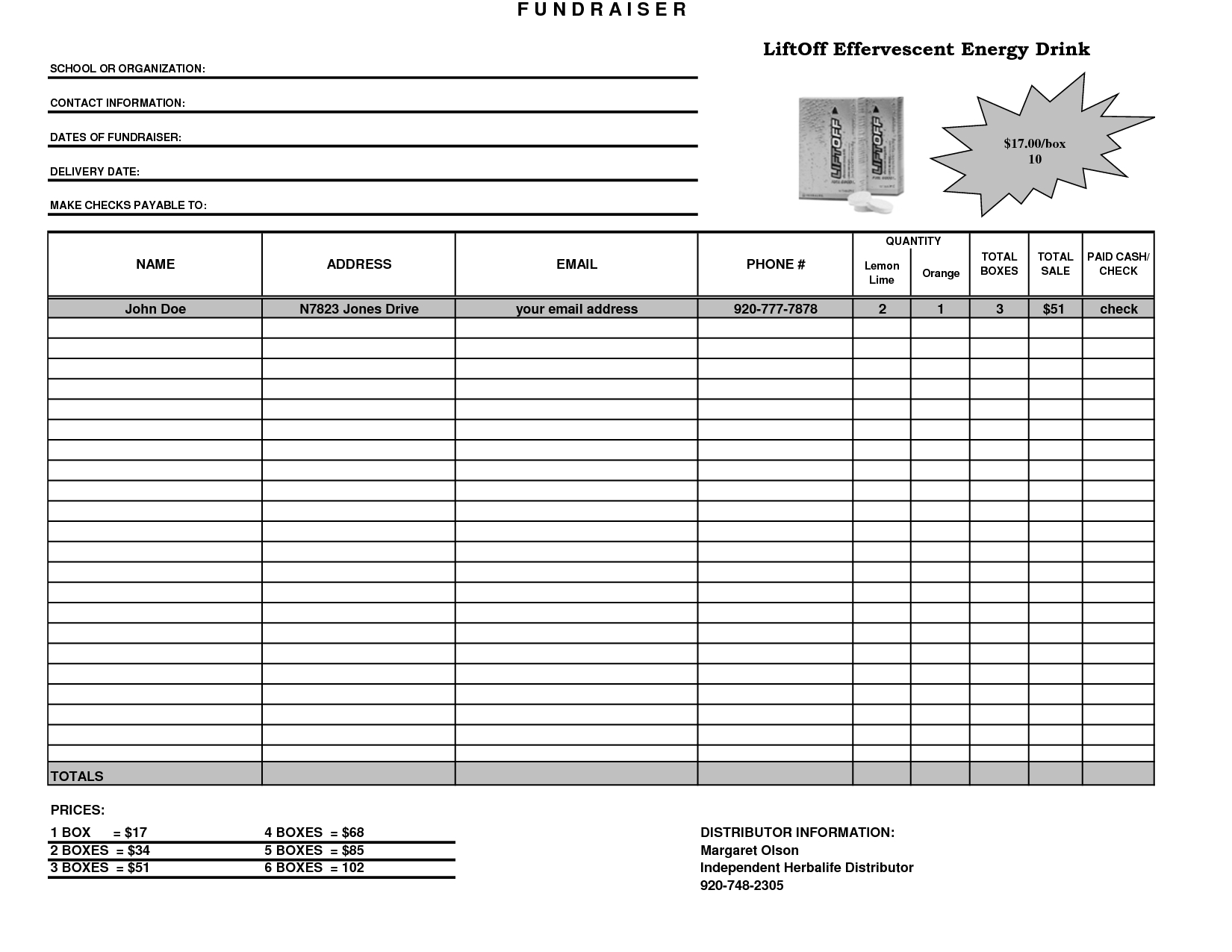 Fundraiser Template Excel Fundraiser Order Form Template Intended For Fundraising Report Template