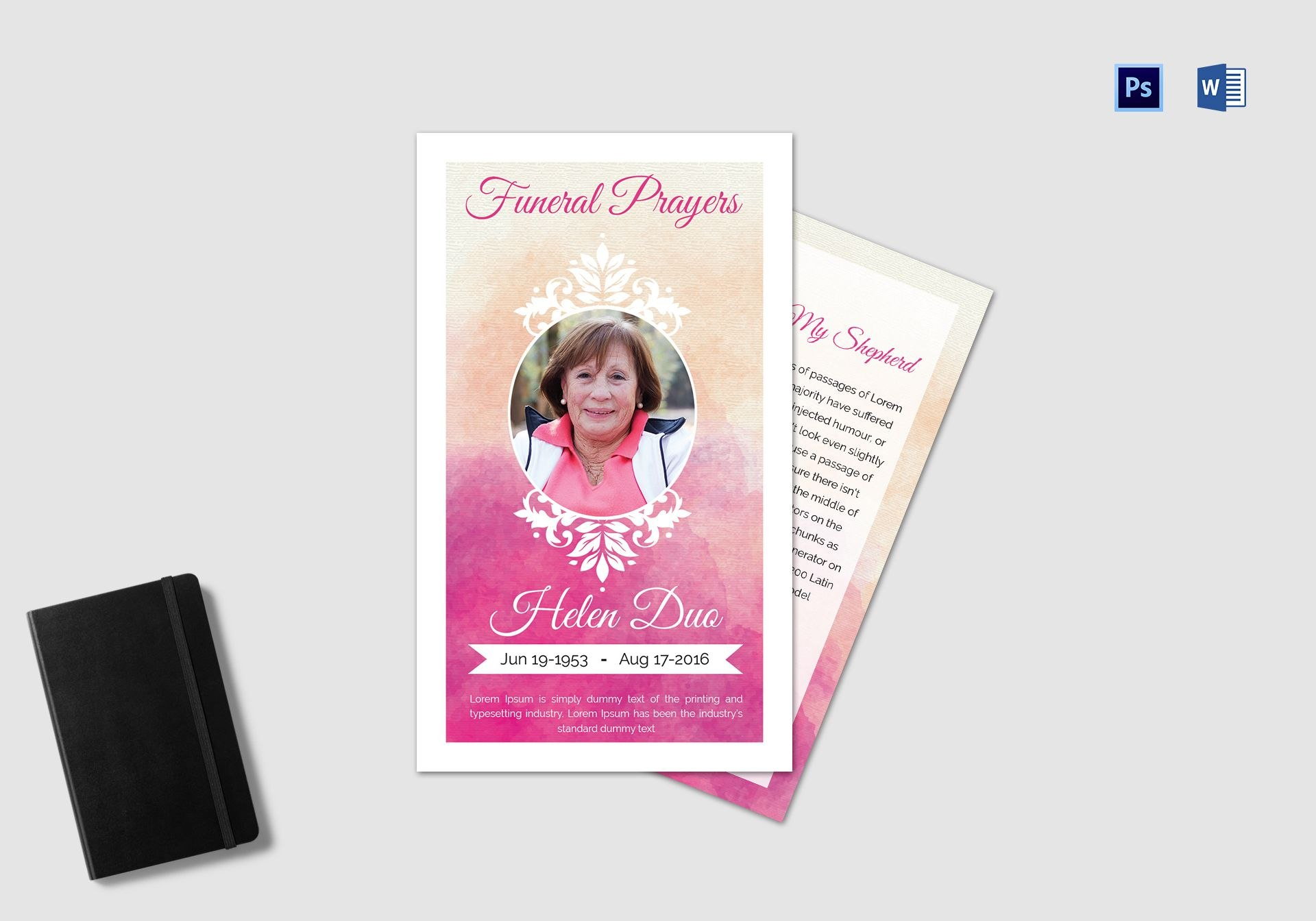 Funeral Prayer Card Template For Grandmother In Adobe Photoshop Inside Prayer Card Template For Word