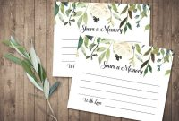 Funeral Share A Memory Card  Printable Funeral Memory Card within In Memory Cards Templates