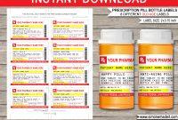 Gag Prescription Labels Template  Fake Prescription Pill Bottle Labels intended for Pill Bottle Label Template