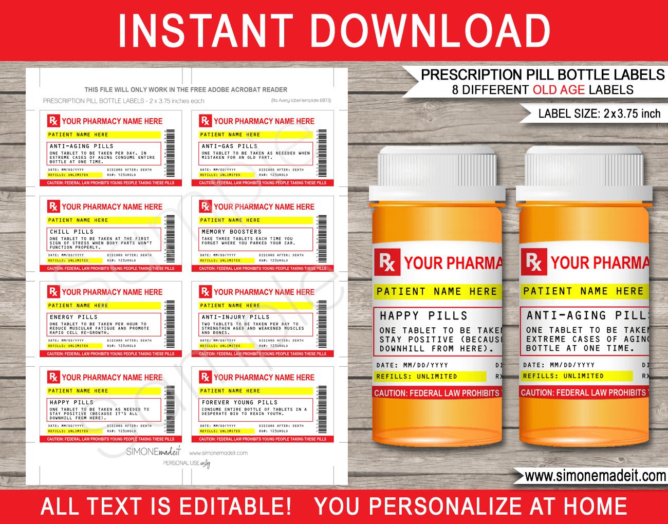 Gag Prescription Labels Template  Fake Prescription Pill Bottle Labels Throughout Prescription Bottle Label Template