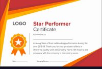 Geometric Red And Gold Star Performer Certificate Vector Image regarding Star Performer Certificate Templates