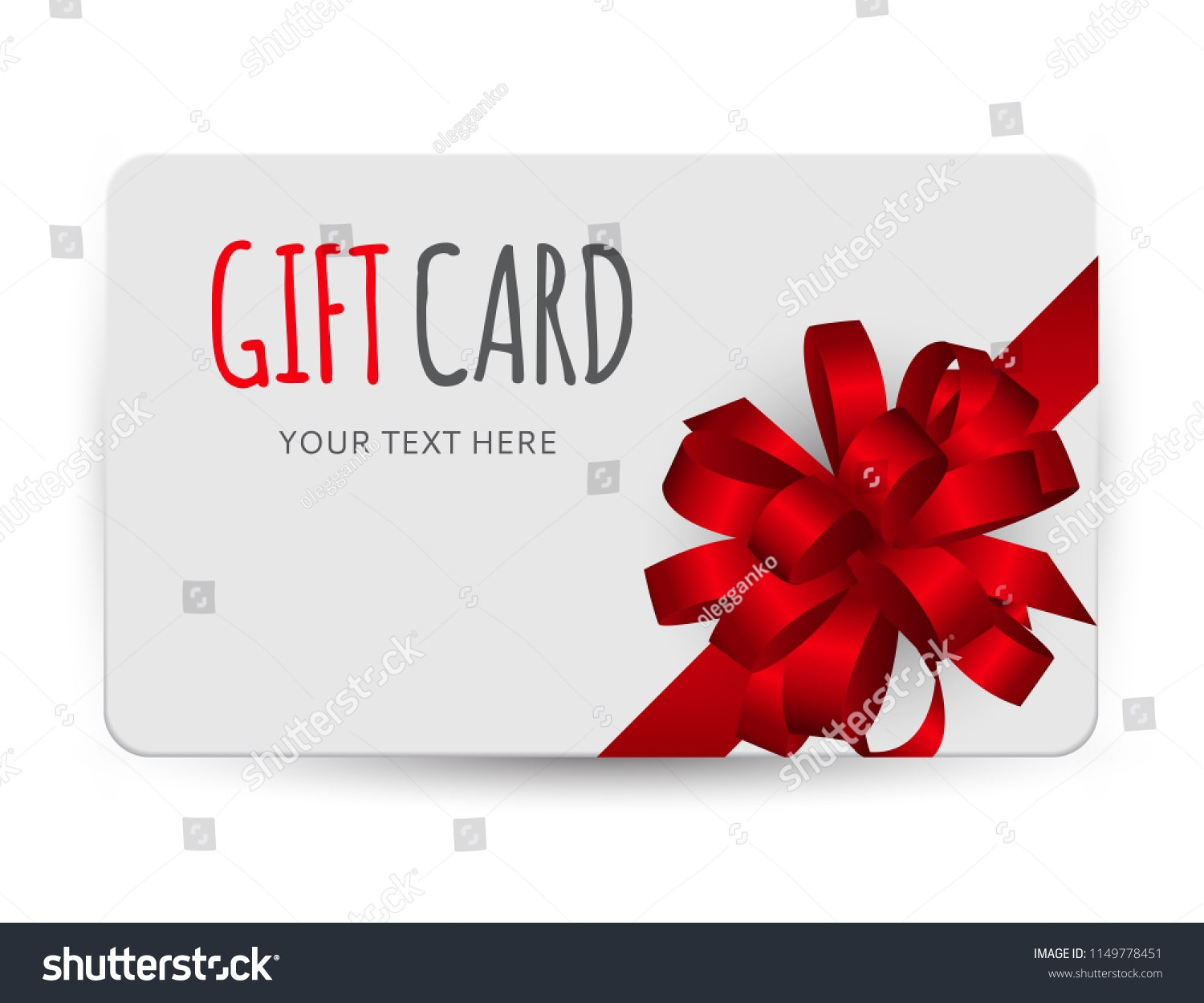 Gift Card Template Bow Ribbon Vector Stock Vector Royalty Free In Present Card Template
