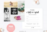 Gift Certificate Template Photography Mini Session Gift Card within Gift Certificate Template Photoshop
