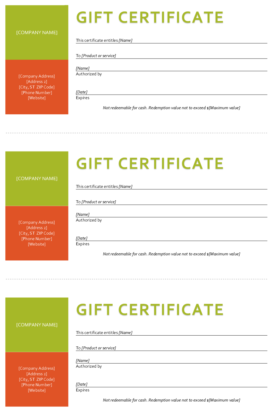 Gift Certificate Template  Sample Gift Certificate In Company Gift Certificate Template