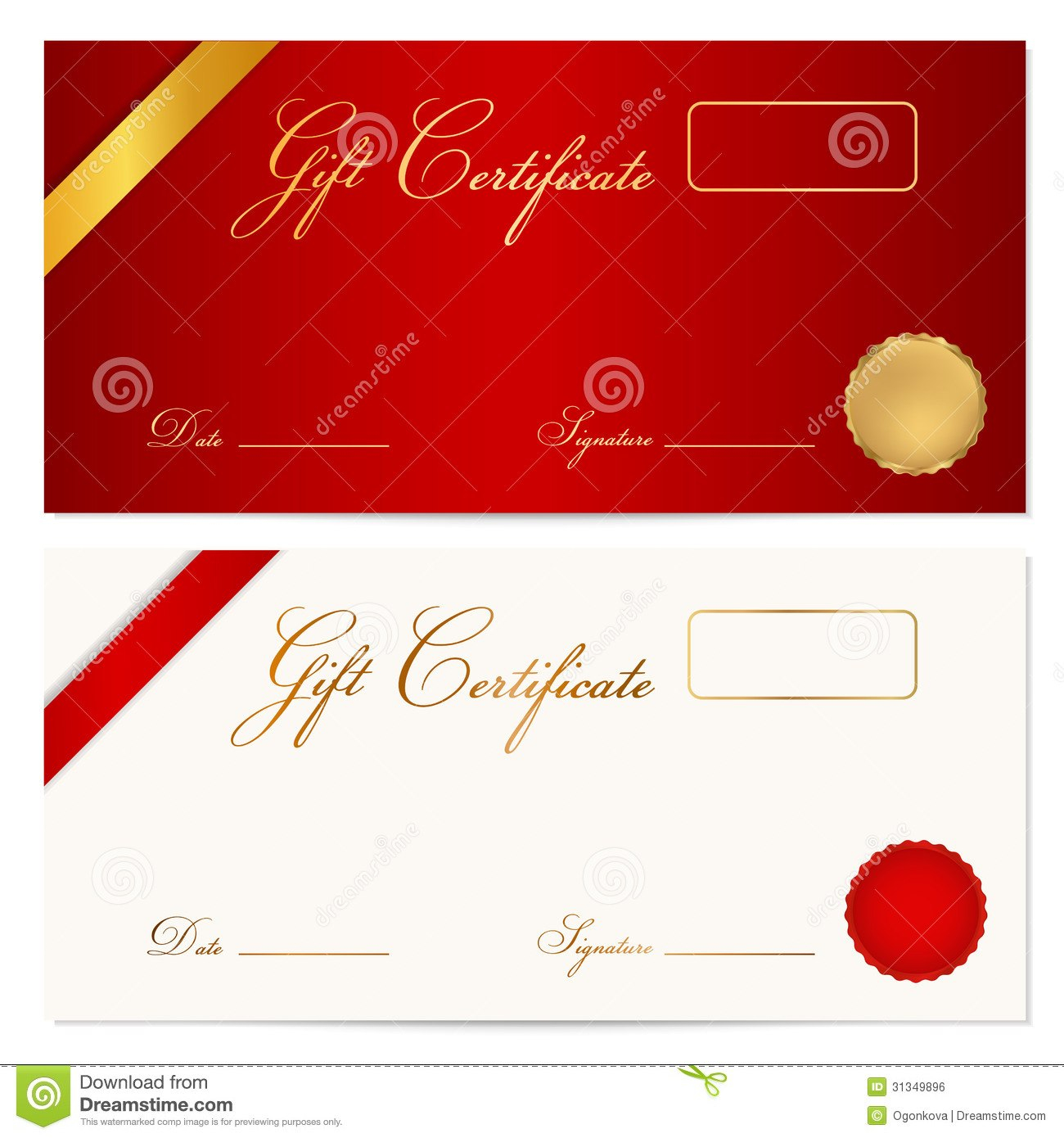 Gift Certificate Voucher Template Wax Seal Stock Vector For Present Certificate Templates