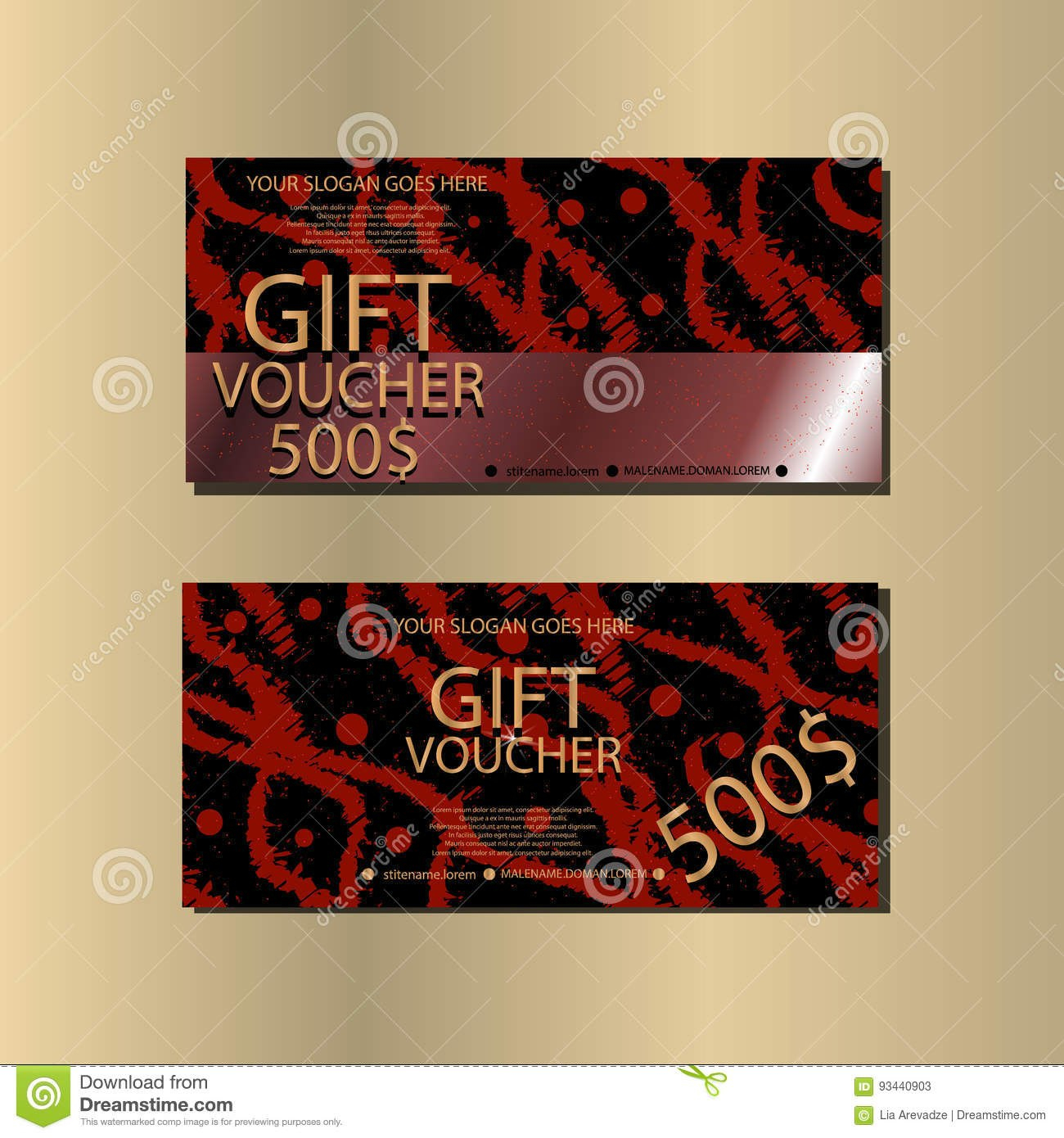 Gift Voucher Template With Abstract Texture For Your Designt Stock Inside Gift Card Template Illustrator