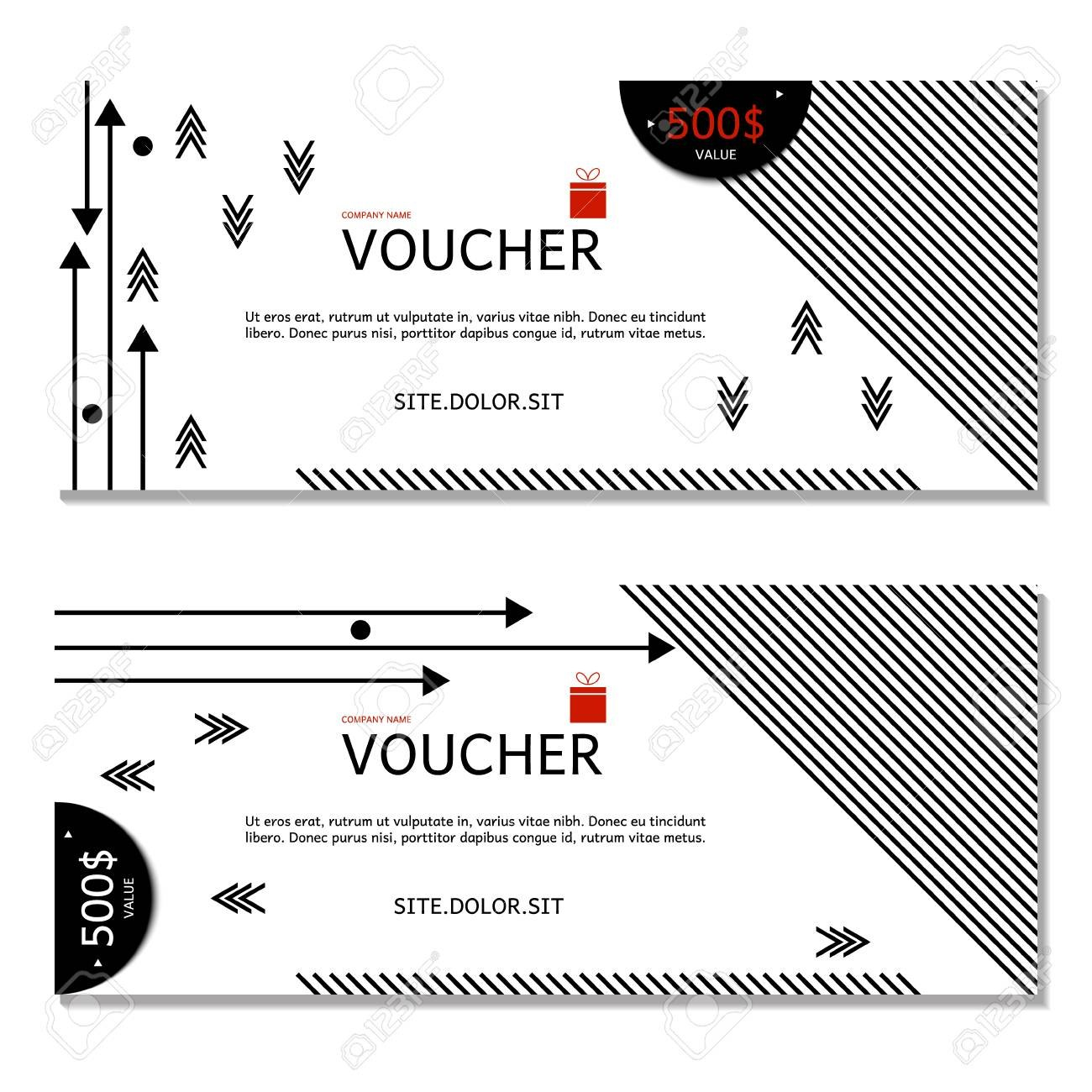 Gift Voucher Vector Illustration Coupon And Voucher Template For Company Gift Certificate Template