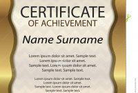 Gold Certificate Of Achievement Or Diploma Template Vertical Stock with Certificate Of Attainment Template
