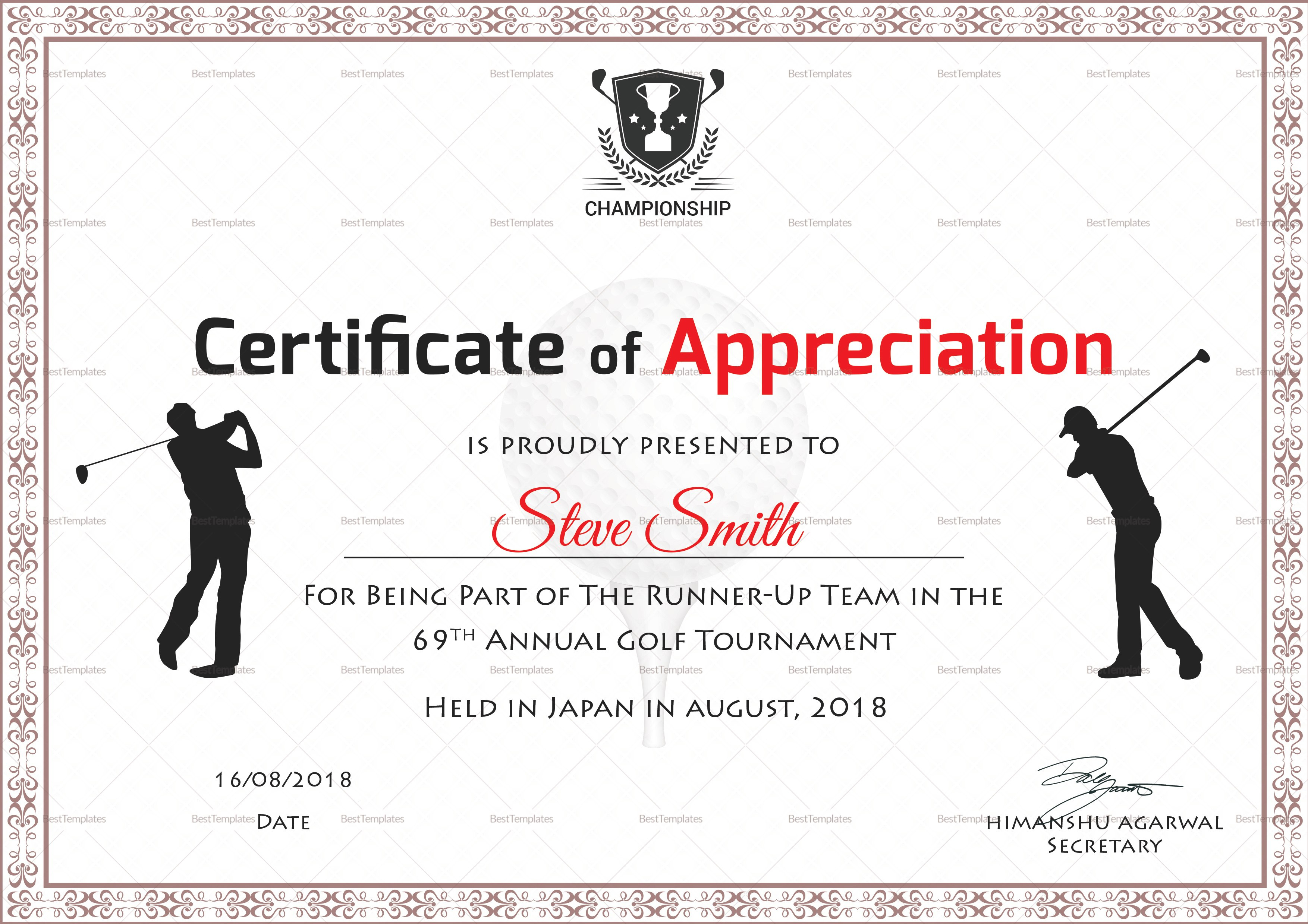 Golf Appreciation Certificate Design Template In Psd Word Regarding Golf Certificate Templates For Word