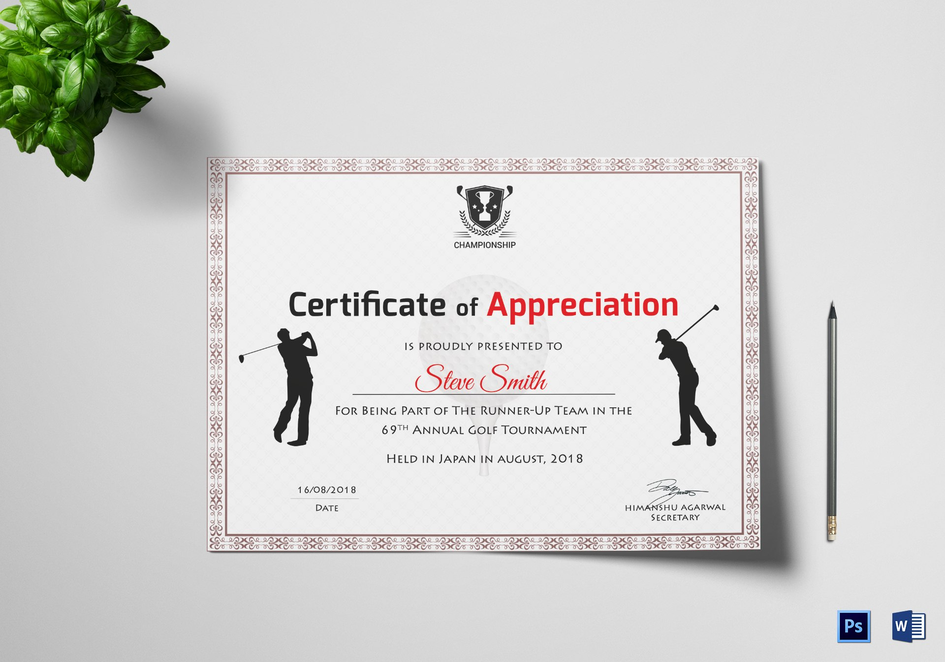 Golf Appreciation Certificate Design Template In Psd Word With Regard To Golf Certificate Templates For Word