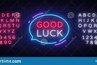 Good Luck Neon Text Vector Good Luck Neon Sign Design Template with regard to Good Luck Banner Template