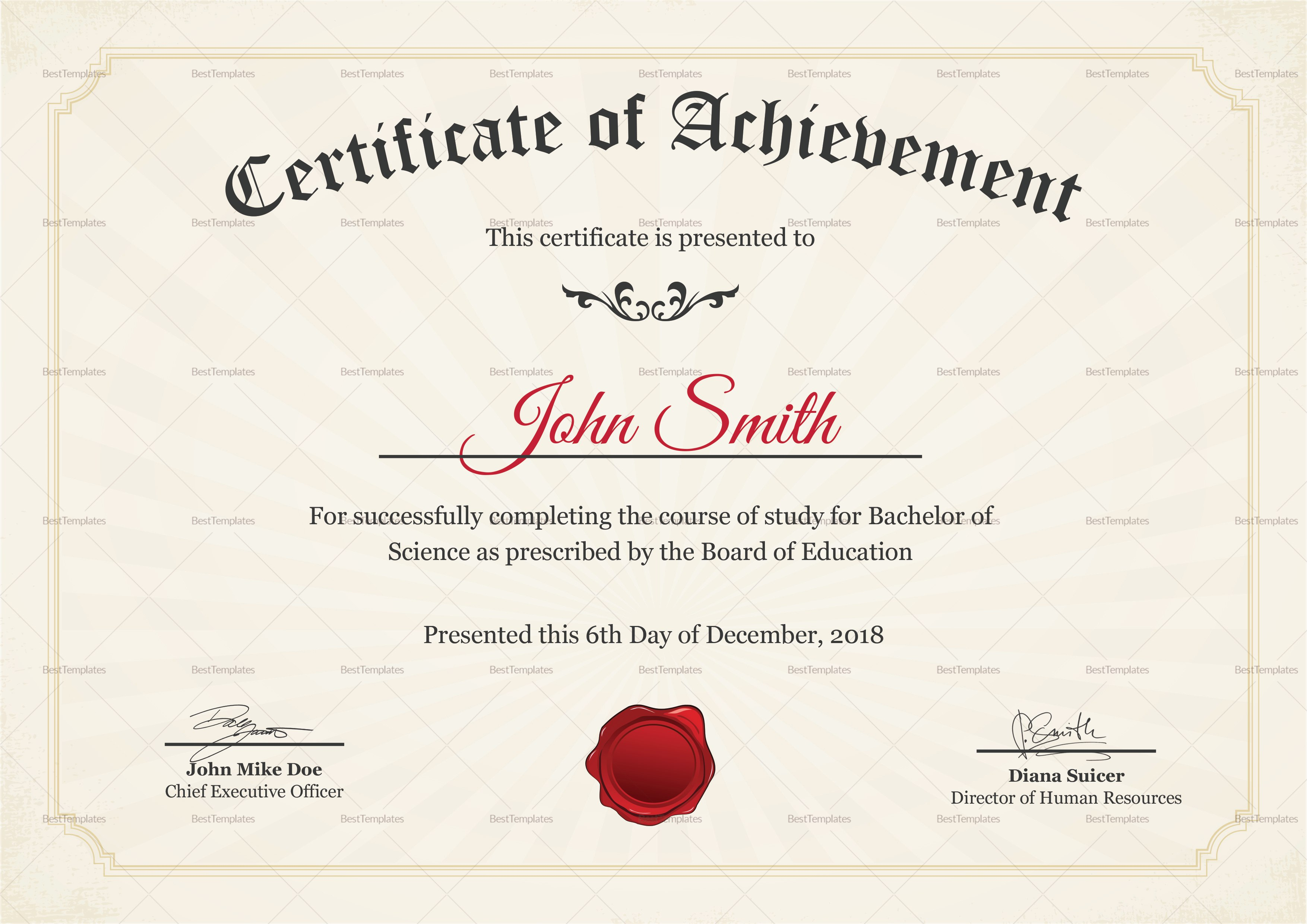 Graduation Degree Certificate Design Template In Psd Word Within College Graduation Certificate Template