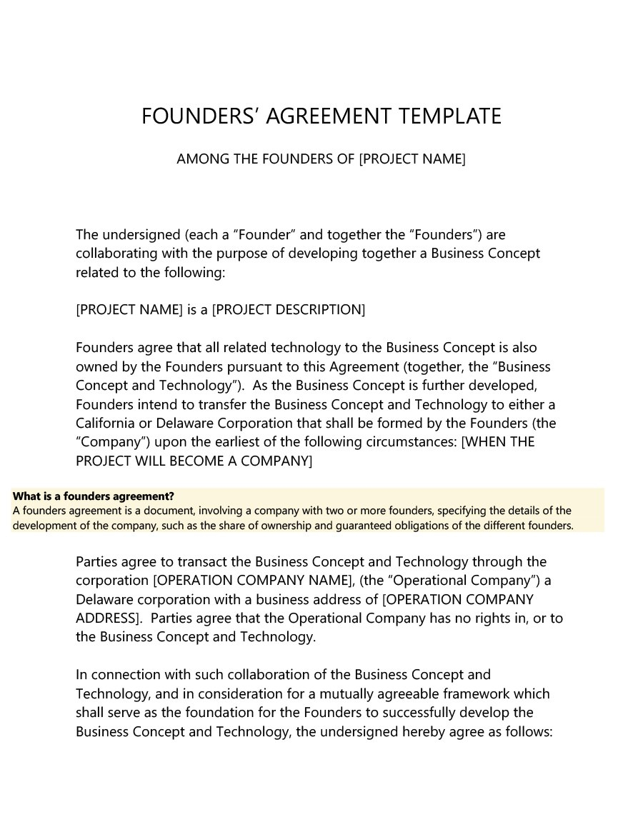 Great Founders Agreement Tramples For Any Startup ᐅ With Founders Shareholder Agreement Template