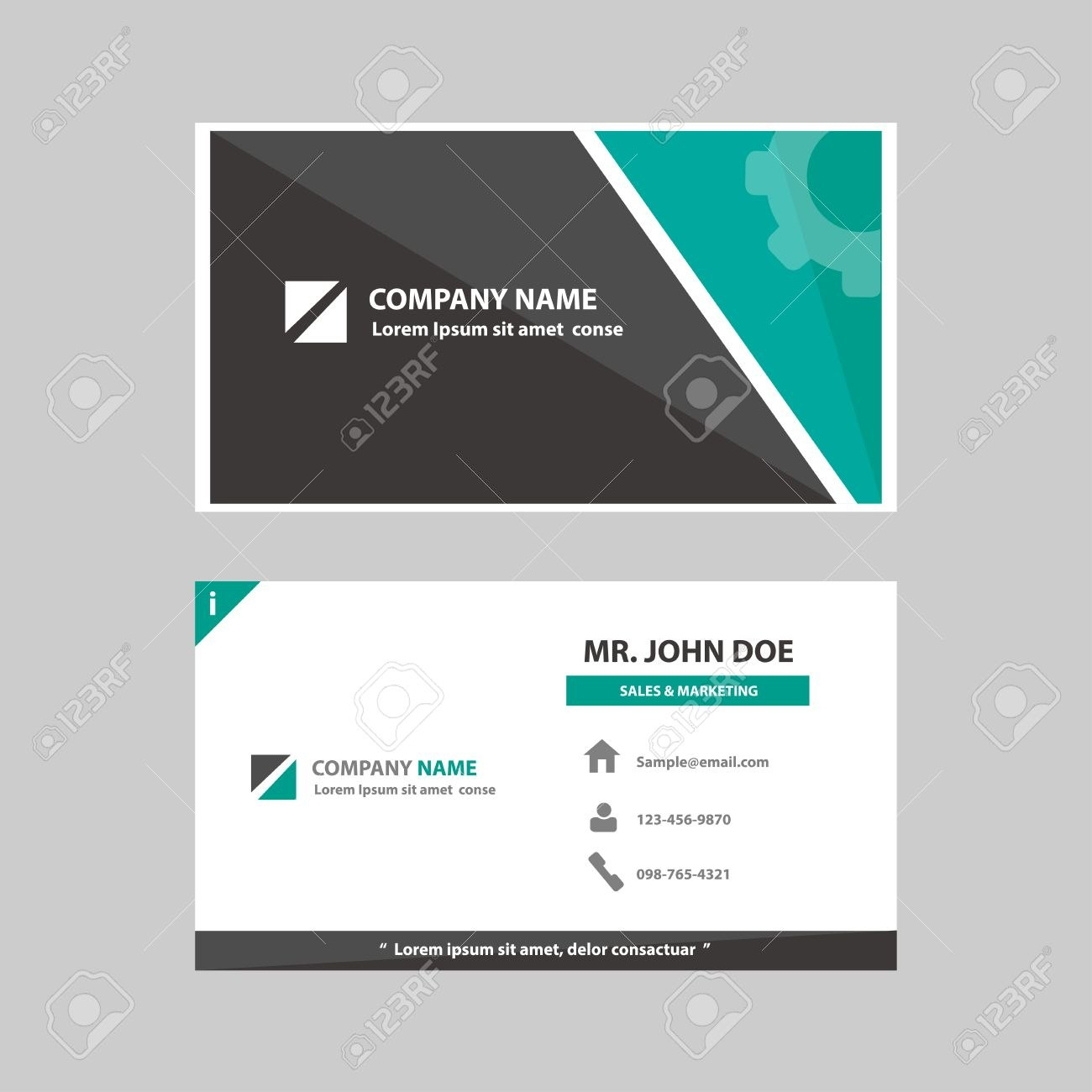 Green And Black Multipurpose Business Profile Card Template Flat For Advertising Card Template
