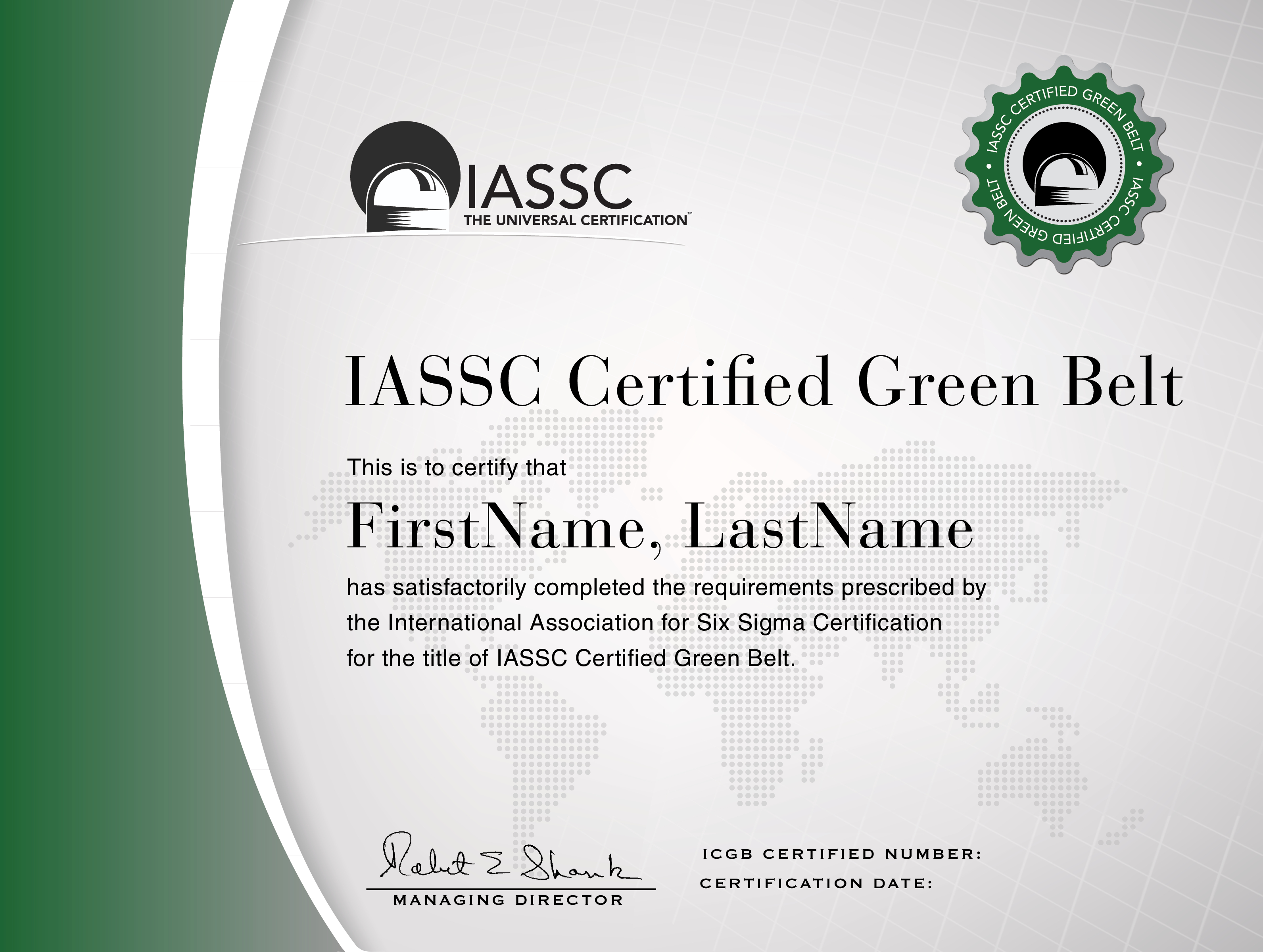 Green Belt Certification  Six Sigma  Lean Six Sigma Six Sigma In Green Belt Certificate Template
